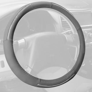 FH Group Gray Supreme Top Grain Authentic Leather Steering Wheel Cover