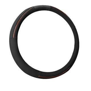 FH Group Black Supreme Top Grain Authentic Leather Steering Wheel Cover