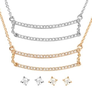 Journee Collection Brass Cubic Zirconia Pendant and Earring Set