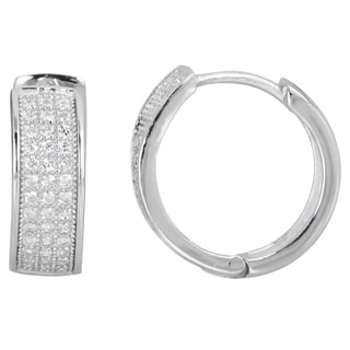 Decadence Sterling Silver 3 Strand Micropave Hoop Earrings with Cubic Zirconia