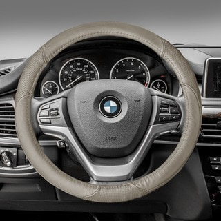 FH Group Beige Perforated Genuine Leather Steering Wheel Cover