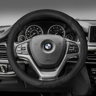 FH Group Black Perforated Genuine Leather Steering Wheel Cover