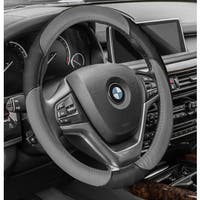 FH Group Gray Black Perforated Genuine Leather Steering Wheel Cover