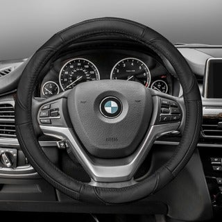 FH Group Black Deluxe Full Grain Authentic Leather Steering Wheel Cover