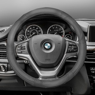 FH Group Gray Deluxe Full Grain Authentic Leather Steering Wheel Cover