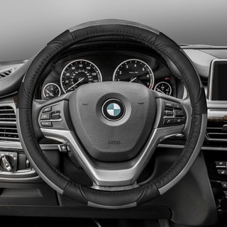 FH Group Gray Black Deluxe Full Grain Authentic Leather Steering Wheel Cover