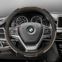 FH Group Beige Black Deluxe Full Grain Authentic Leather Steering Wheel Cover