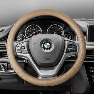 FH Group Beige Supreme Top Grain Authentic Leather Steering Wheel Cover