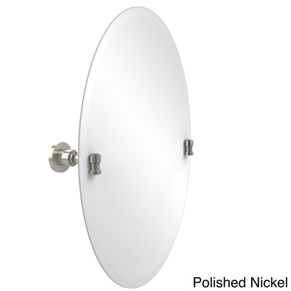"""Frameless Oval Tilt Wall Mirror with Beveled Edge, Washington Square Collection - 22""""d"""