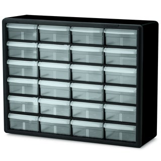 Black Plastic 24-drawer Storage Cabinet