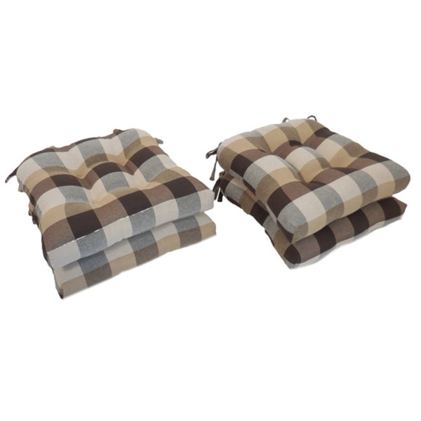 Bon Essentials Buffalo Check Woven Plaid Tieback Chair Pads (Set Of 4)
