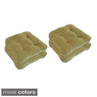 Shore Soft Textured Solid Chair Pads with Non-Skid Back (Set of 4)
