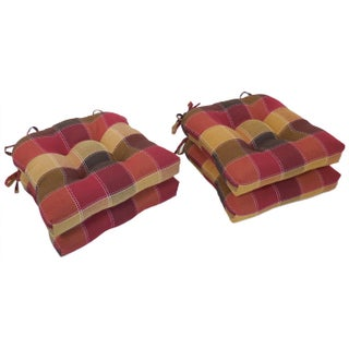 Essentials Harris Plaid Woven Plaid Tieback Chair Pads (Set of 4) (2 options available)