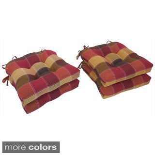 Attractive Essentials Harris Plaid Woven Plaid Tieback Chair Pads (Set Of 4)