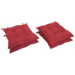 Essentials Red Stripe Ribbed Woven Chair Pads with Tiebacks (set of 4)