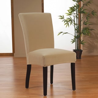 Stretch Velvet One Piece Form Fit Dining Chair Slipcover