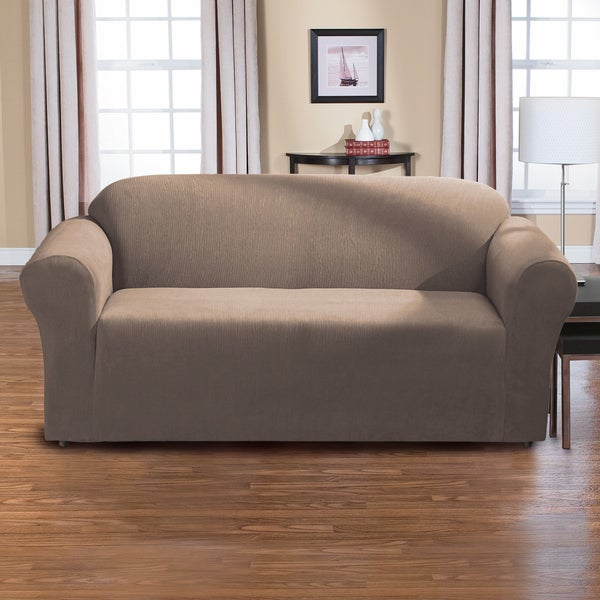New Slipcover Stretch Sofa Cover Sofa With Loveseat Chair: Shop QuickCover Dimples One Piece Stretch Sofa Slipcover
