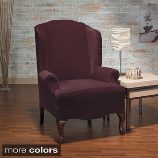 QuickCover Eastwood Plush One Piece Stretch Wing Chair Slipcover