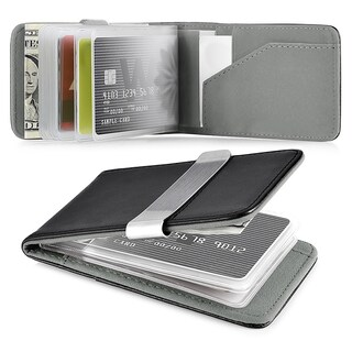 Zodaca Genuine 100-percent Leather Money Clip Wallet with Extra Business Card/ Credit Card Holder (Option: Black/ Grey)