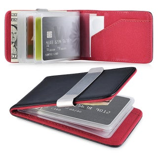Zodaca Genuine 100-percent Leather Money Clip Wallet with Extra Business Card/ Credit Card Holder (Option: Black/ Pink)