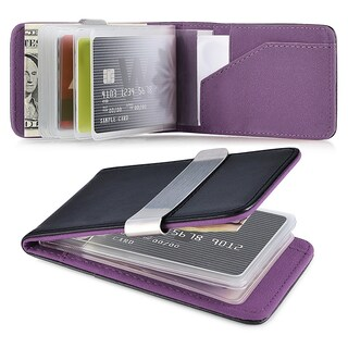 Zodaca Genuine 100-percent Leather Money Clip Wallet with Extra Business Card/ Credit Card Holder (Option: Black/ Purple)