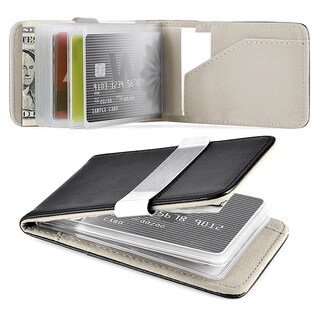 Zodaca Genuine 100-percent Leather Money Clip Wallet with Extra Business Card/ Credit Card Holder (Option: Black/ White)