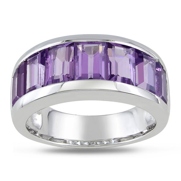 15fa87755 Shop Miadora Sterling Silver Baguette-cut Amethyst Band Ring - Free ...