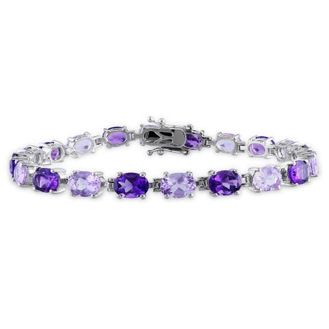 Miadora Sterling Silver 14ct TGW Amethyst and Rose de France Bracelet