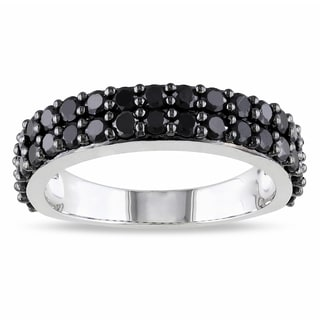 Miadora Sterling Silver Black Spinel Stackable Ring