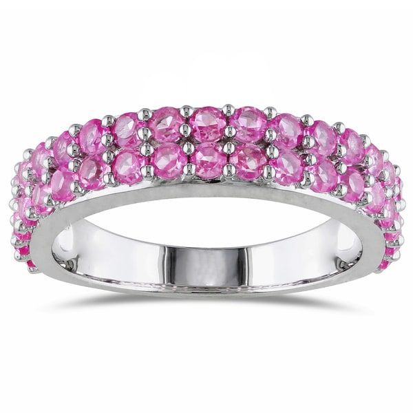 Miadora Sterling Silver Created Pink Sapphire Stackable Ring