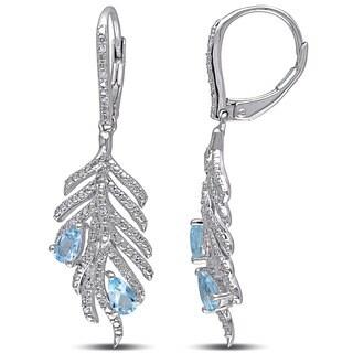 Miadora Silver Blue Topaz and 1/6ct TDW Diamond Leaf Earrings (G-H, I2-I3)