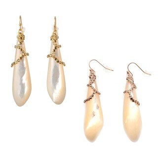 De Buman 18k Yellow Gold Plated or 18k Rose Gold Plated Mother of Pearl and Crystal Earrings
