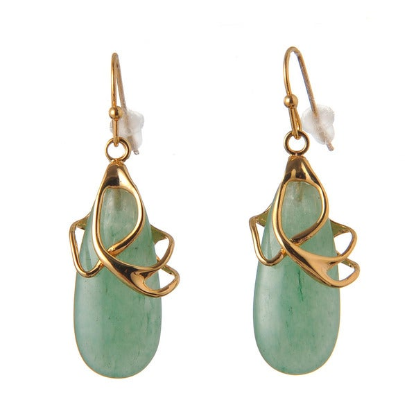 De Buman 14k Yellow Gold Plated or 14k Rose Gold Plated Aventurine Earrings