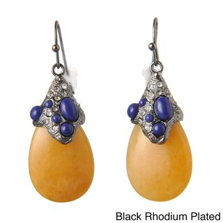 De Buman Black Rhodium Plated Yellow Jade and Created Lapis or 18k Rose Gold Plated Yellow Jade and Crystal Earrings