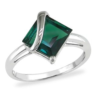 Miadora 10k White Gold Created Emerald Ring