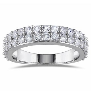 Miadora Sterling Silver Created White Sapphire Stackable Ring