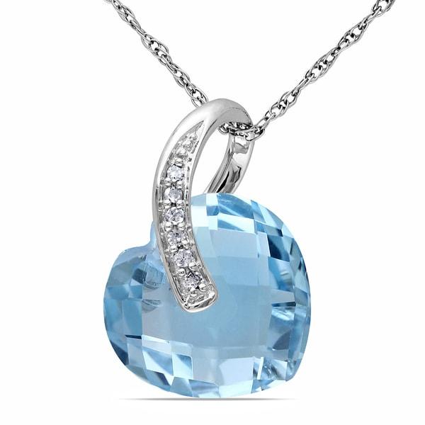 Miadora 10k White Gold 6 1/2ct Blue Topaz and Diamond Heart Necklace