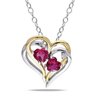 Miadora Two-tone Silver Created Ruby and Diamond Accent Heart Necklace