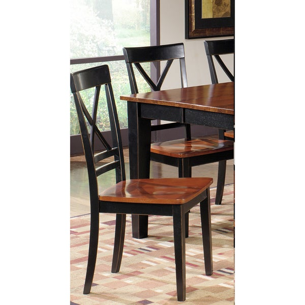 Shop Tribecca Home Decor Faux Alligator Print Dining Chair: Shop Cosmo Cherry/ Black Dining Chairs (Set Of 2)