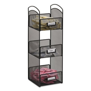 Safco Onyx 3290BL Steel Mesh Black Tower Break Room Organizer
