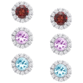 Dolce Giavonna Sterling Silver Gemstone and Cubic Zirconia Stud Earrings Set