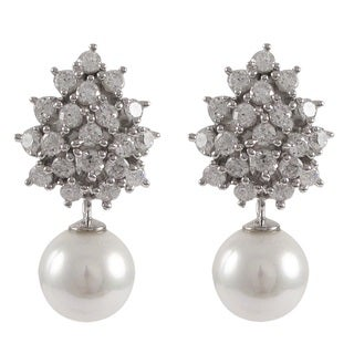 Luxiro Sterling Silver Cubic Zirconia Cluster with 10 mm White Shell Pearl Drop Omega Earrings