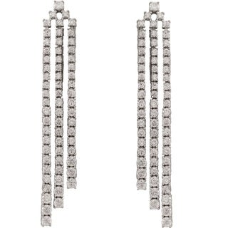 Luxiro Sterling Silver Cubic Zirconia Long Three Row Cascade Tennis Earrings