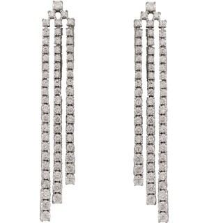 Luxiro Sterling Silver Cubic Zirconia Long Three Row Cascade Tennis Earrings