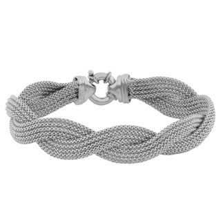 Fremada Sterling Silver 5-row Braided Popcorn Chain Bracelet