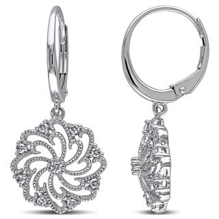Miadora 10k White Gold 1/4ct TDW Diamond Dangle Earrings