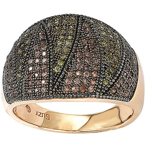 Suzy L. Rose Gold over Sterling Silver Cubic Zirconia Micro Pave Wide Band Ring