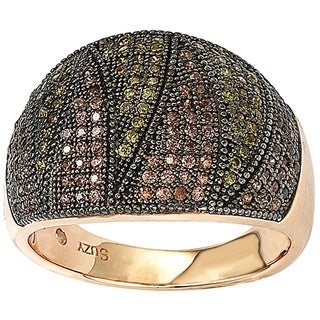 Suzy Levian Rose Gold over Sterling Silver Cubic Zirconia Micro Pave Wide Band Ring