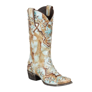 Lane Boots Women's 'Glitz and Glamour' Blue and Tan Leather Cowboy Boots