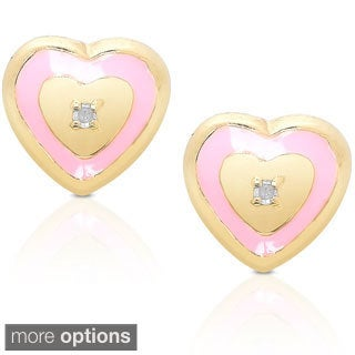 Molly and Emma Sterling Silver Children's Diamond Accent Heart Stud Earrings